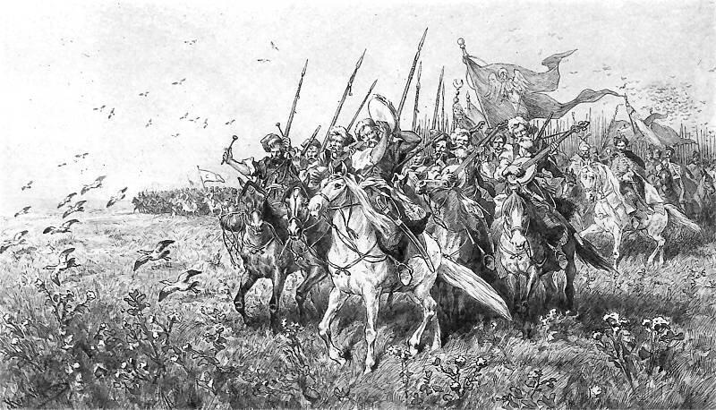 Pochód Chmielnickiego zTuhaj Bejem Źródło: Juliusz Kossak, Pochód Chmielnickiego zTuhaj Bejem, 1886, rysunek: sepia ipiórko, domena publiczna.