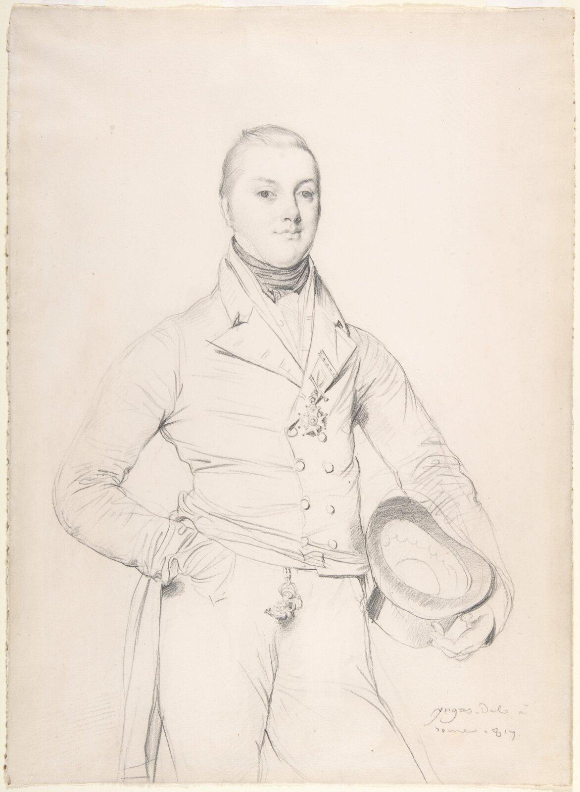 """Ilustracja przedstawia rysunek """"Admirał Sir Fleetwood Broughton Reynolds Pellew"""" autorstwa Jeana-Augustea-Dominiquea Ingresa. Dzieło ukazuje szkic ołówkiem na pożółkłym papierze. Artysta przy pomocy lekko cieniowanego konturu narysował gładko zaczesanego młodego mężczyznę we fraku zprzypiętym wklapie medalem oraz halsztukiem pod szyją. Postać lewą ręką przytrzymuje oparty na biodrze kapelusz. Wdolnym, prawym rogu widnieje data ipodpis Ingresa. Rysunek skomponowany jest statycznie, postać mężczyzny znajduje się wjego centrum."""