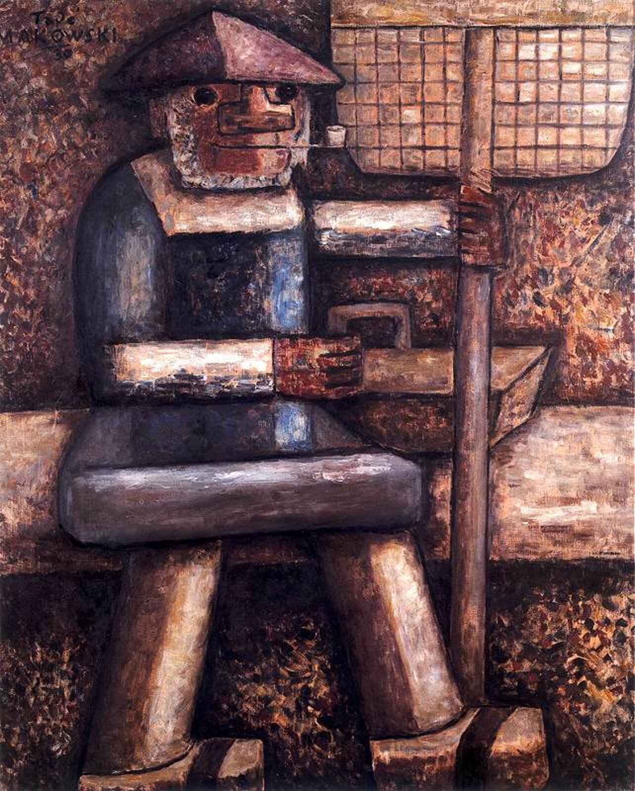 """Ilustracja przedstawia obraz pt. """"Rybak"""" autorstwa Tadeusza Makowskiego. Dzieło ukazuje mężczyznę wkapeluszu na głowie ifajką wustach. Wręku trzyma siatkę wędkarską."""