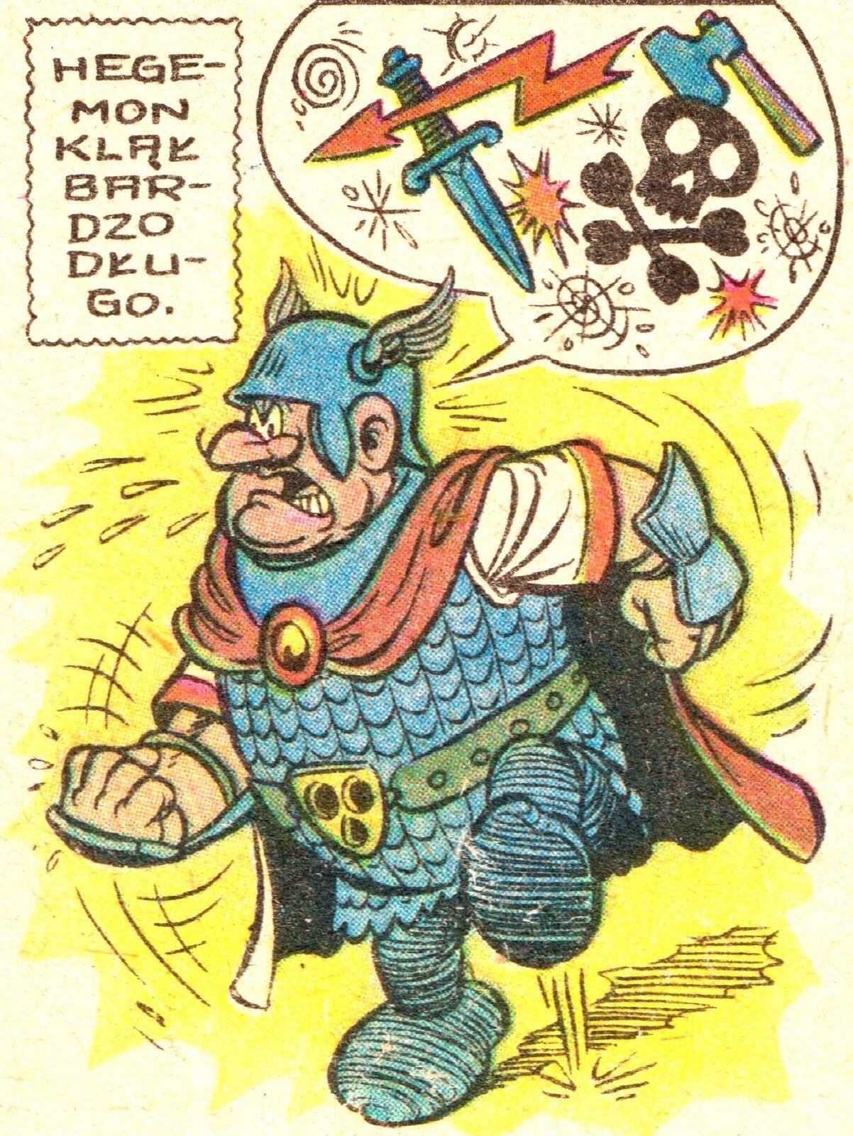 """Ilustracja przedstawia fragment komiksu """"Kajko iKokosz. Festiwal czarownic"""". Ukazuje tupiącego ze złości wojownika, ubranego wzbroję ipłaszcz. Nad nim wchmurce zamiast napisów znajdują się znaki ikoniczne: miecz, piorun, topór, gwiazdy, trupia czaszka."""
