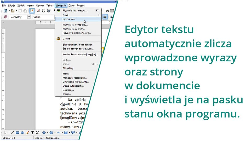 Animacja: Licznik słów wprogramie LibreOffice Writer