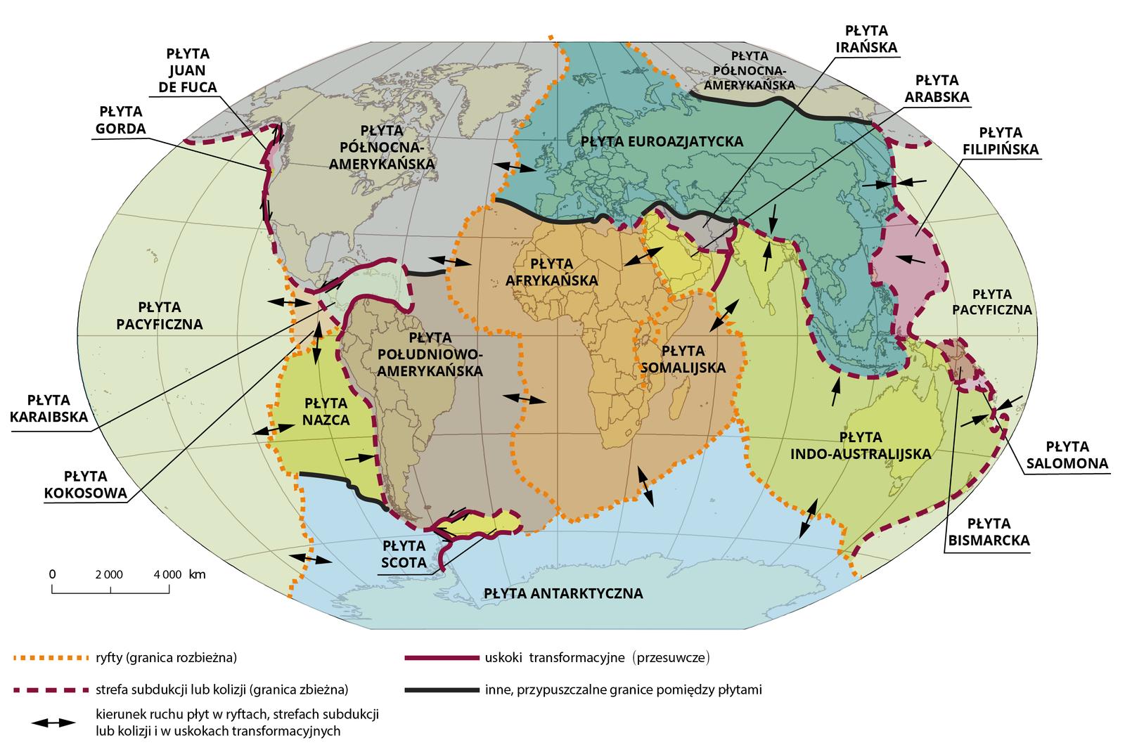 Na mapie świata zaznaczono zasięg płyt tektonicznych. Od lewej strony: płyta pacyficzna graniczy po prawej stronie zpłytą północnoamerykańską, zpłytą kokosową, płytą Nazca. Płyta południowoamerykańska graniczy po prawej stronie zpłytą afrykańską, ana zachodzie zpłytą Nazca. Płyta północnoamerykańska styka się zpłytą afrykańską ieuroazjatycką. Wśrodku pomiędzy płytą euroazjatycką, afrykańską iindoaustralijską leży płyta arabska. Płyta euroazjatycka przylega do płyty północnoamerykańskiej, płyty pacyficznej, płyty filipińskiej oraz wspomnianej płyty indoaustralijskiej. Na południu płyta antarktyczna graniczy znastępującymi płytami: pacyficzną, Nazca,  południowoamerykańską, afrykańską, indoaustralijską.