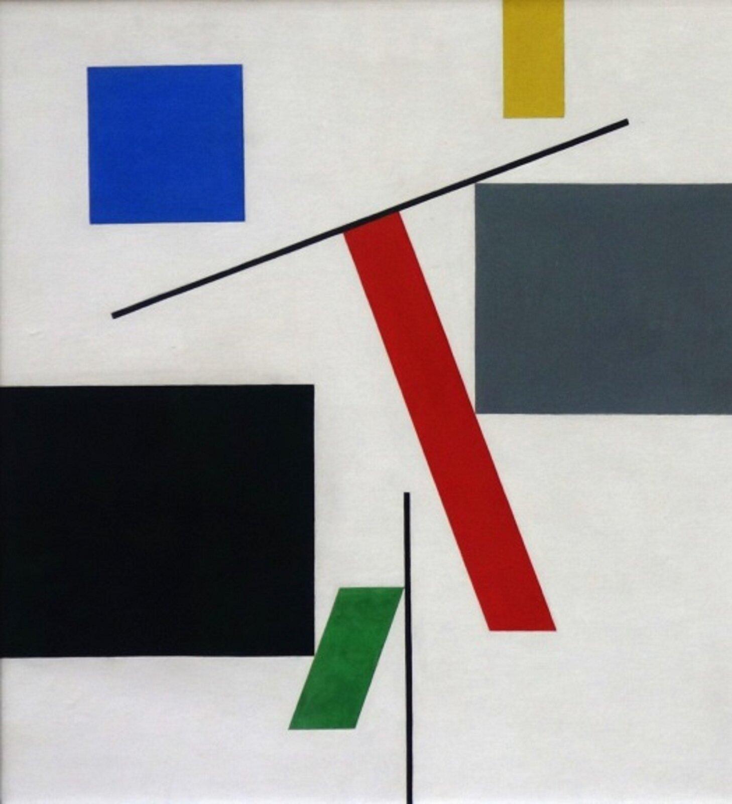 """Ilustracja przedstawia pracę Sophie Taeuber-Arp """"Równowaga"""". Ukazuje sześć czworokątów idwie czarne linie na białym tle. Po lewej znajdują się: niebieski kwadrat ugóry iwiększy, czarny prostokąt na dole. Po prawej zaś żółty, mały prostokąt na górze, aponiżej szary kwadrat. Pośrodku, pomiędzy figurami, zamieszczone zostały dwa ukośne romby: dłuższy, czerwony wyżej idolny, zielony ikrótszy pod nim. Do każdego znich przylega czarna linia."""