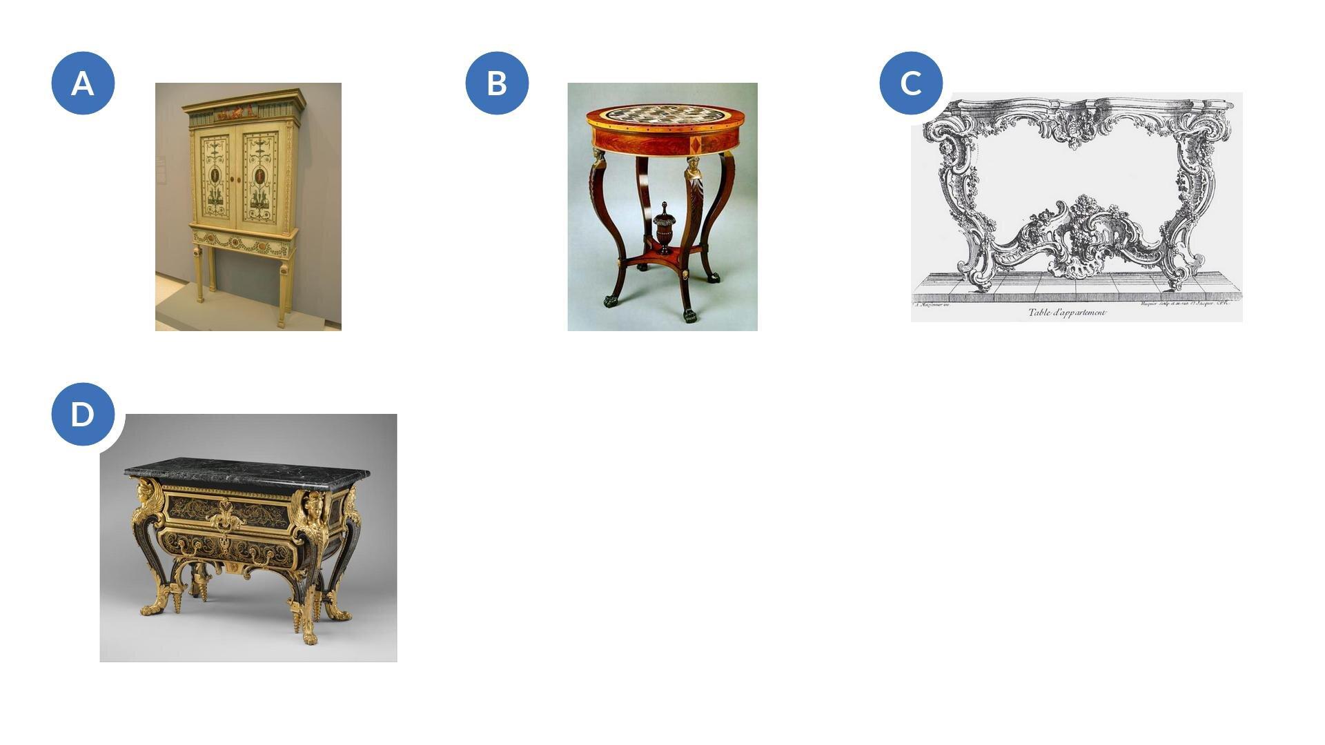 Wzadaniu znajdują się cztery ilustracje przedstawiające: bogato zdobioną komodę zzłotymi ornamentami na wygiętych nóżkach, półkę na książki zozdobnymi harmonijnymi rysunkami na prostych wysokich nóżkach, brązowy stolik na wygiętych nóżkach zokrągłym blatem izłotymi łączeniami pomiędzy blatem anóżkami oraz szkic projektowy ozdobnego stolika oharmonijnym zawijanym kształcie.