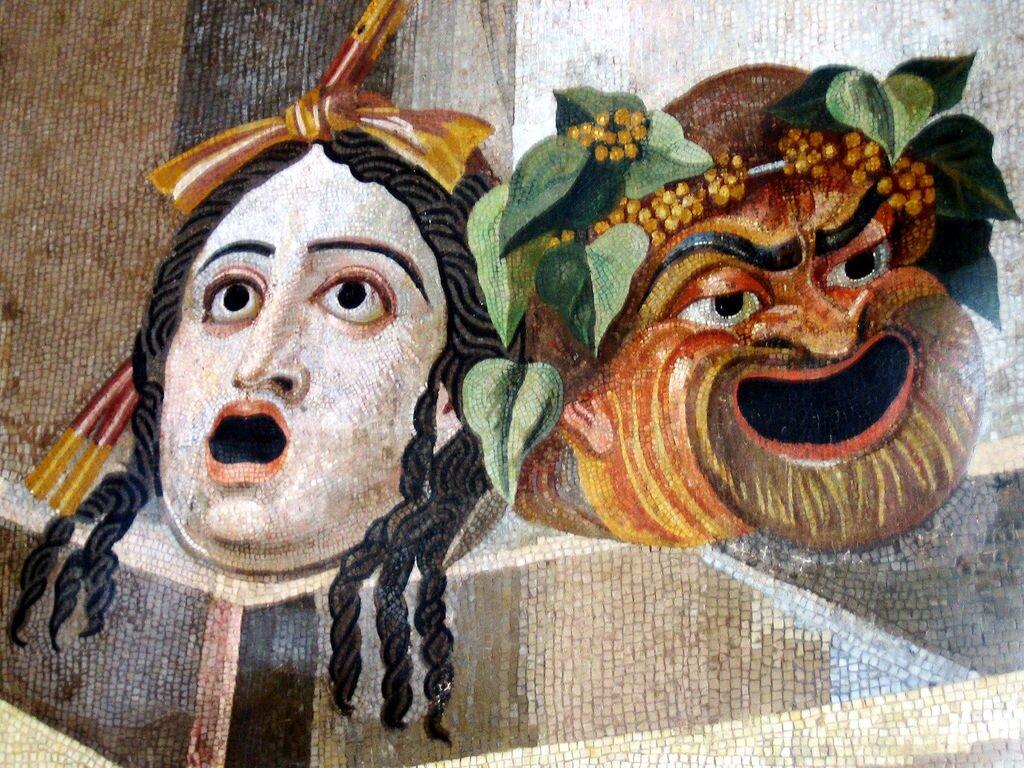 Maski teatralne na rzymskiejmozaice zII wieku n.e.,przechowywanej wMuzeum KapitolińskimwRzymie Maski teatralne na rzymskiejmozaice zII wieku n.e.,przechowywanej wMuzeum KapitolińskimwRzymie Źródło: domena publiczna.