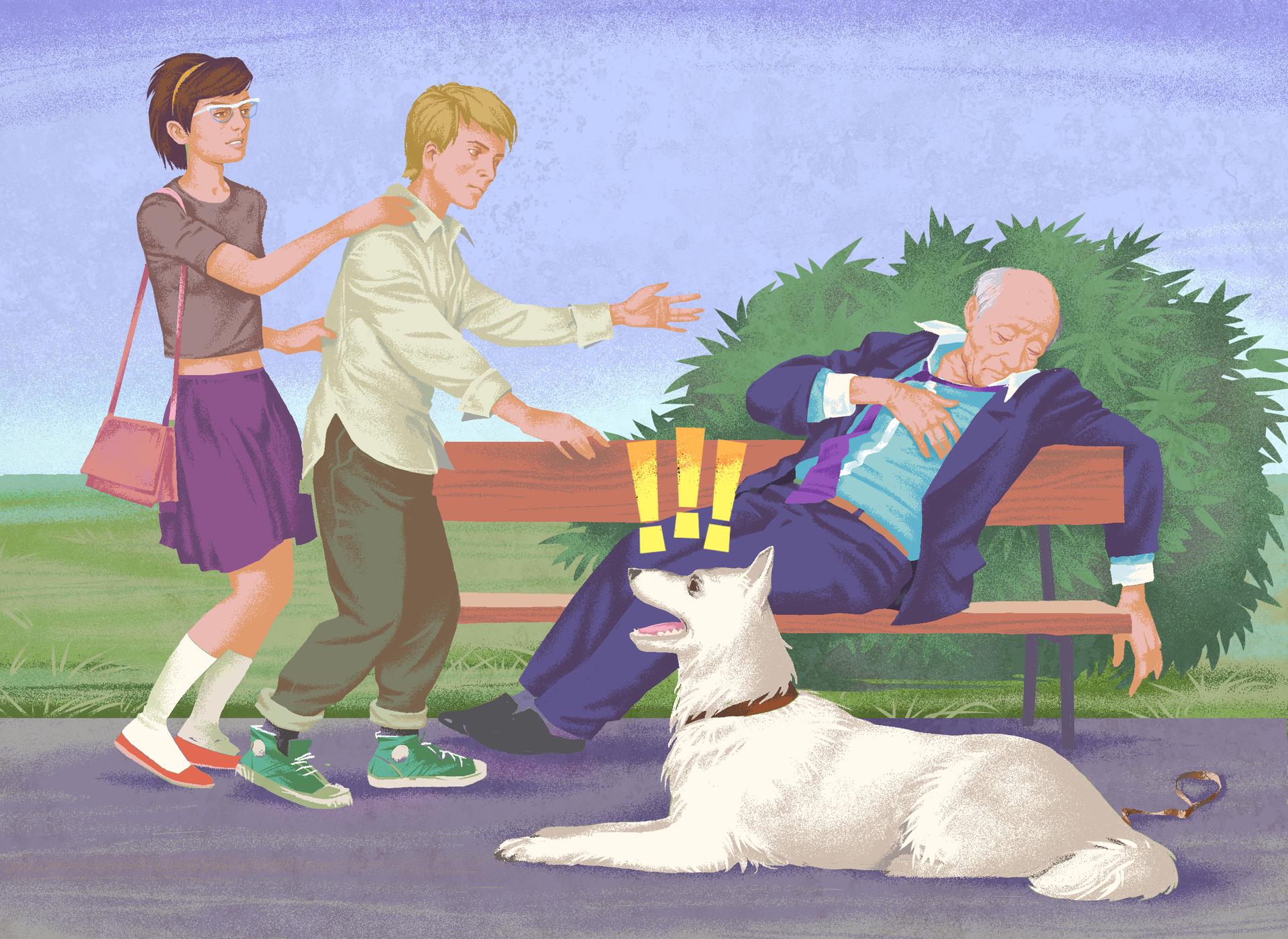 Galeria składa się z4 ilustracji. Ilustracja 1:Ilustracja przedstawia próbę udzielenia pierwszej pomocy starszemu mężczyźnie. Mężczyzna siedzi na ławce wparku. Głowa mężczyzna wsparta na prawym barku, prawa ręka swobodnie zawieszona na oparciu ławki. Lewa dłoń na klatce piersiowej. Po lewej stronie ilustracji dziewczyna przytrzymująca chłopca zmierzającego wstronę mężczyzny. Chłopiec spieszy się aby pomóc nieprzytomnemu mężczyźnie. Naprzeciw ławki, obok mężczyzny, duży biały pies leży na ścieżce. Pies głową skierowany wstronę dziewczyny ichłopaka. Pysk psa otwarty. Trzy żółte wykrzykniki powyżej głowy psa.