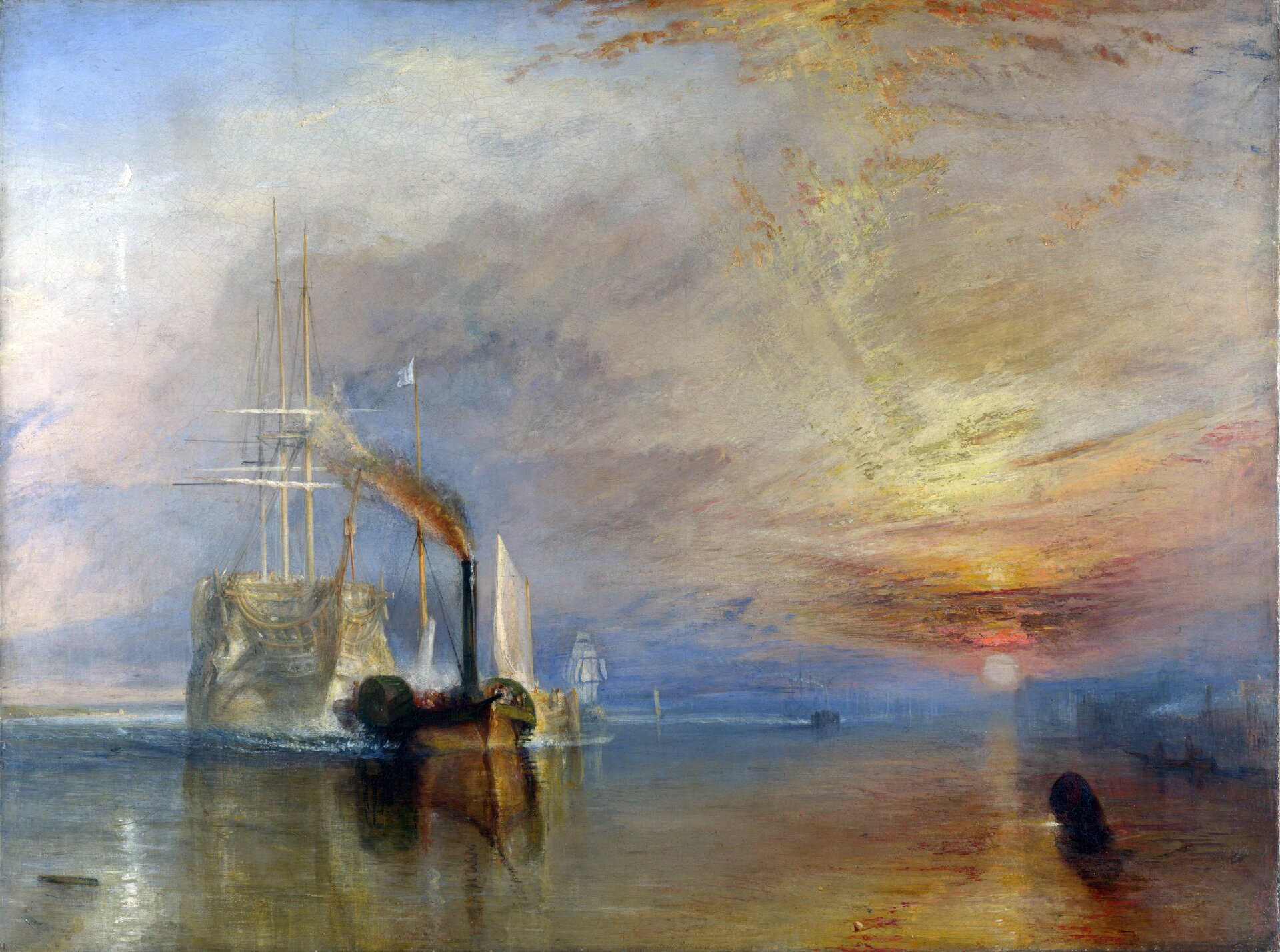 """Ilustracja przedstawia obraz Williama Turnera pt. """"Ostatni rejs Temeraire"""" lub """"Statek holowany do stoczni"""". Obraz powstał w1839 roku. Obecnie możemy go znaleźć wNational Gallery wLondynie wAnglii. Dzieło przedstawia płynący po morzu okręt. Zmierza on wmiejsce jego rozbiórki. Wtle widoczny jest zachód słońca. Autorem dzieła był angielski malarz. Artysta znany był przede wszystkim zmalowania romantycznych pejzaży. Postrzegany był także jako prekursor impresjonizmu. Prace Turnera charakteryzują się wyrazistymi barwami, ponieważ malarz perfekcyjnie potrafił uchwycić światło wswoich pracach."""