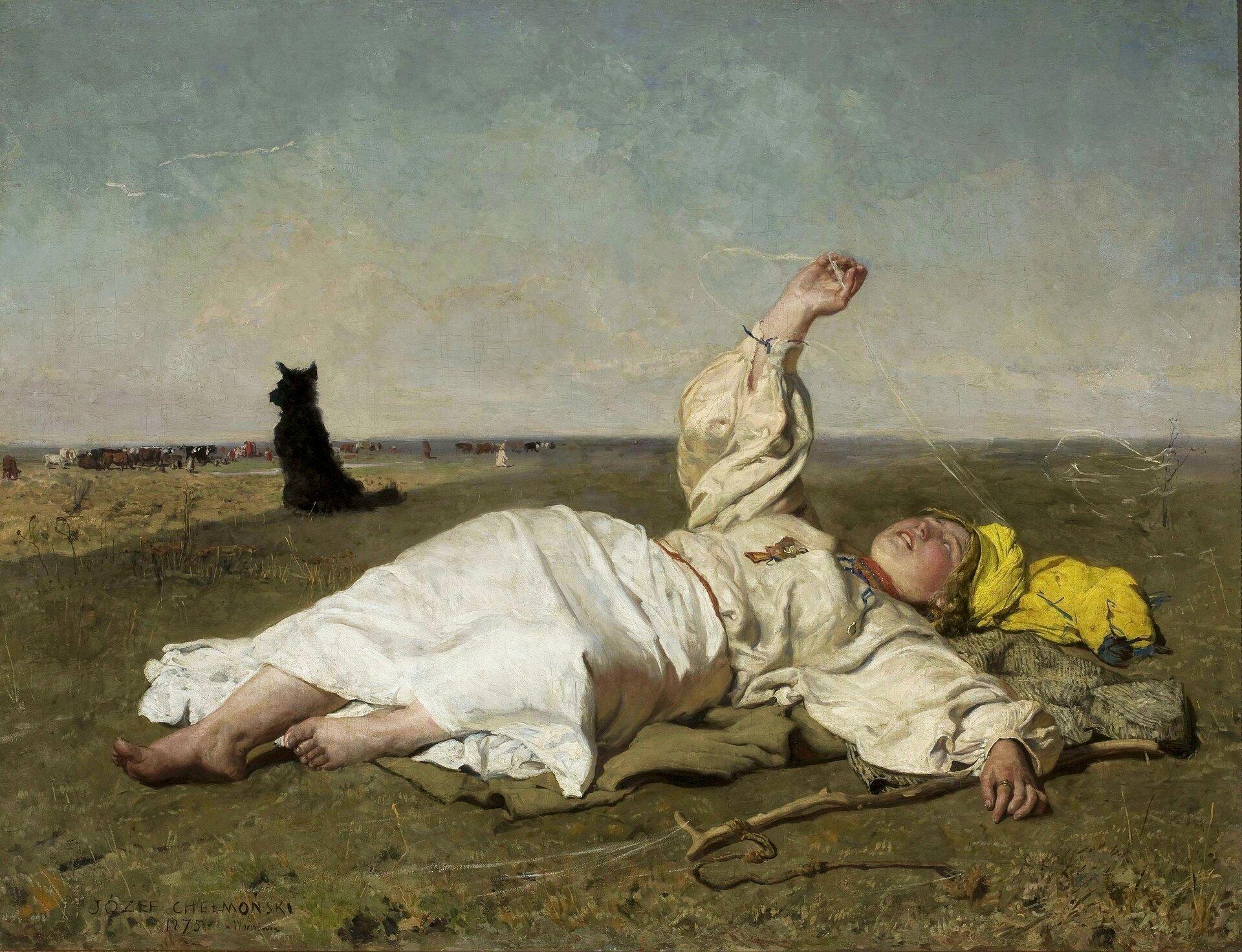"""ilustracja przedstawia obraz Józefa Chełmońskiego """"Babie lato"""". Na otwartym polu leży młoda pasterka, która wyciągniętą dłonią chwyta nić babiego lata. Obok niej leży sękaty kij zprzywiązanym rzemieniem. Kobieta ubrana jest wbiałą, długą spódnicę, żółtawą bluzkę ijaskrawo żółtą chustę. Stopy kobiety są brudne. Po lewej stronie, woddali, siedzi czarny pies. Jest zwrócony tyłem do kobiety ipatrzy na znajdujące się woddali bydło. Niebieskie niebo pokryte jest żółtawymi chmurami."""