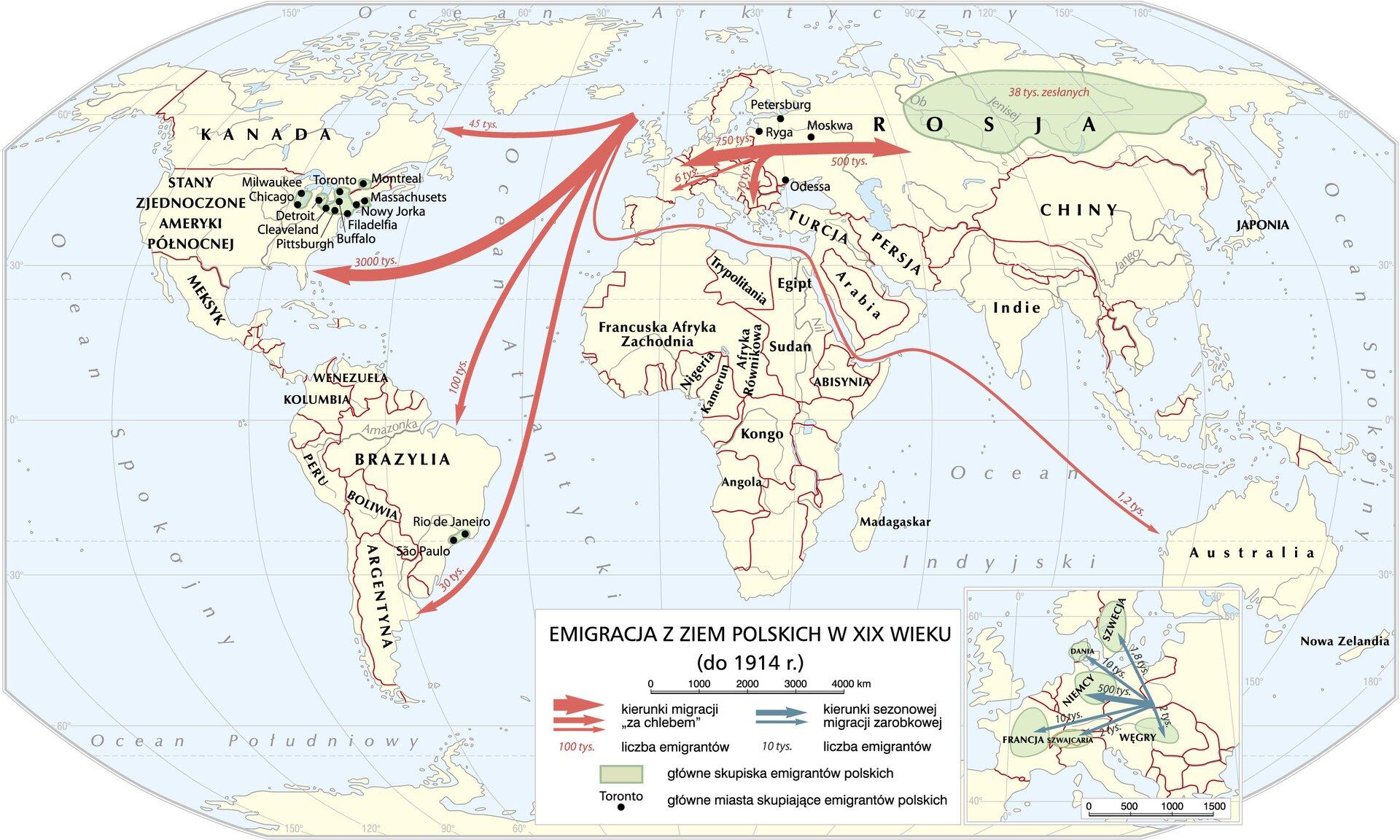 Emigracja zziem polskich wXIX wieku (do 1914 roku) Emigracja zziem polskich wXIX wieku (do 1914 roku) Źródło: Krystian Chariza izespół, licencja: CC BY 3.0.