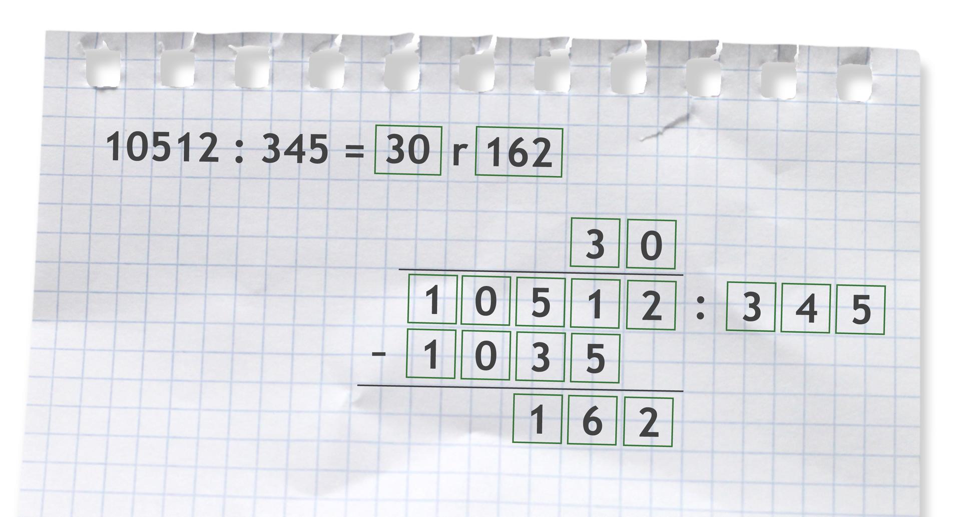 Przykład: 10512 dzielone przez 345 =30 r162. Rozwiązanie zadania podpunkt b.