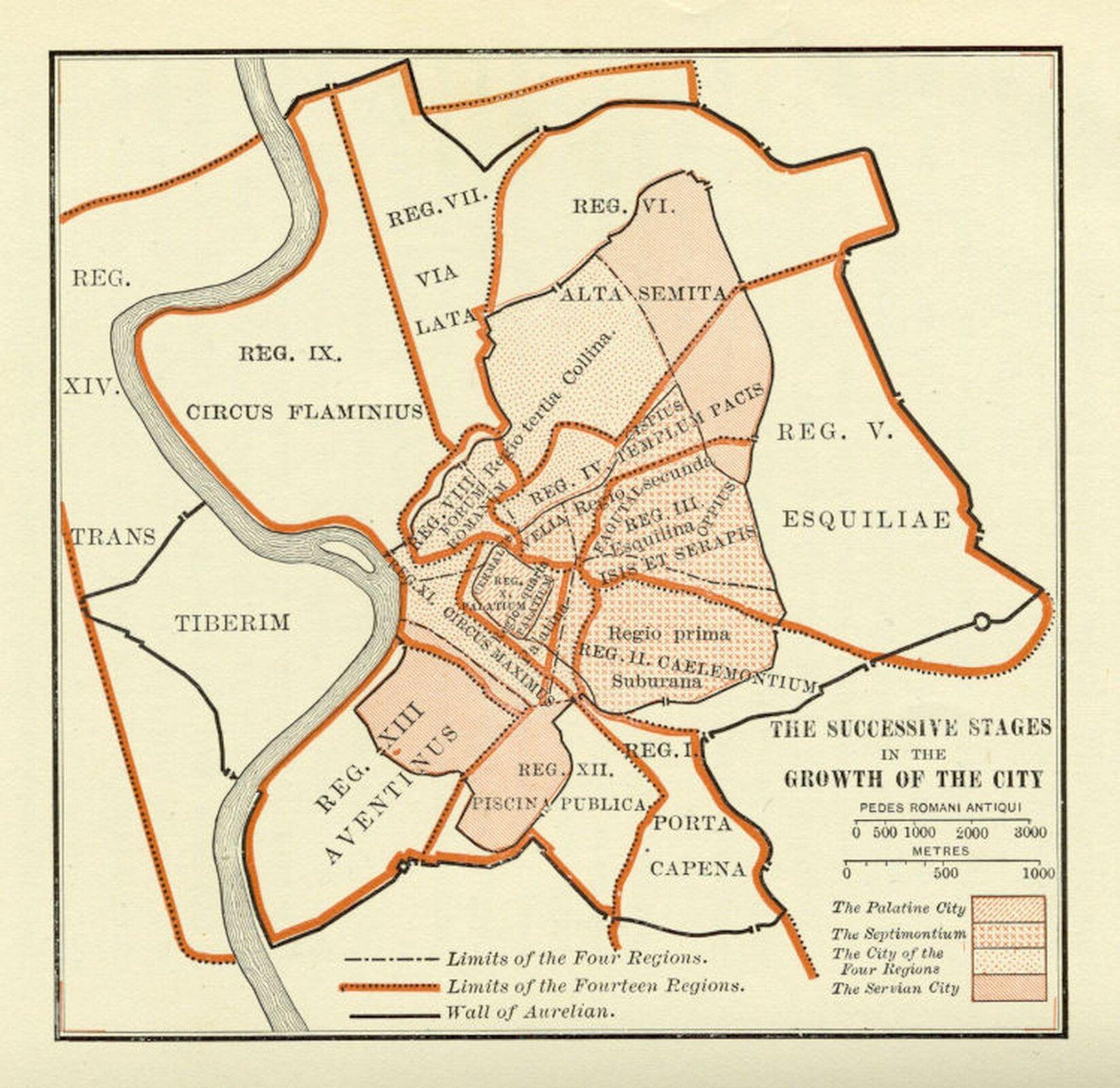 Ilustracja przedstawia rozrost miasta Rzymu na przestrzeni wieków. Wkwadratowej ramce znajduje się plan Rzymu, na którym naniesione są linie. Zdołu prawej strony ilustracji widoczna jest skala oraz legenda – różne wzory oznaczają granice rozwoju miasta. Czarna przerywana linia oznacza granice tzw. czterech regionów miasta Rzymu tj. Suburane, Esquilinę, Collin, Palatinę. Linią pomarańczową oznaczone zostały granice czternastu regionów Rzymu. Linią czarną zostały oznaczony Mur Aureliana, który chronił miasto.