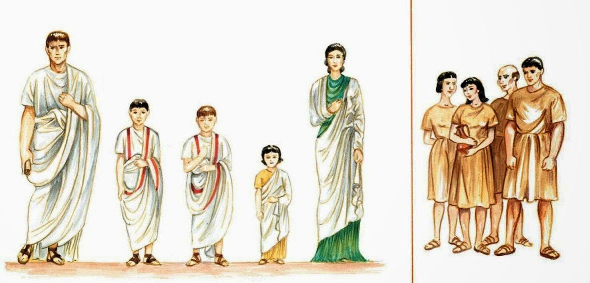 Ilustracja zksiążki Familia Romana Hansa H.Orberga przedstawia dwie rzymskie rodziny: bogatą oraz biedną. Pokazana bogata rodzina składa się zpięciu członków: matki, ojca, dwóch chłopców oraz dziewczynki. Wszyscy ubrani są wzdobione togi. Natomiast biedna rodzina, która na ilustracji złożona jest zojca, matki oraz córki isyna. Wszyscy ubrani są wproste krótkie tuniki.