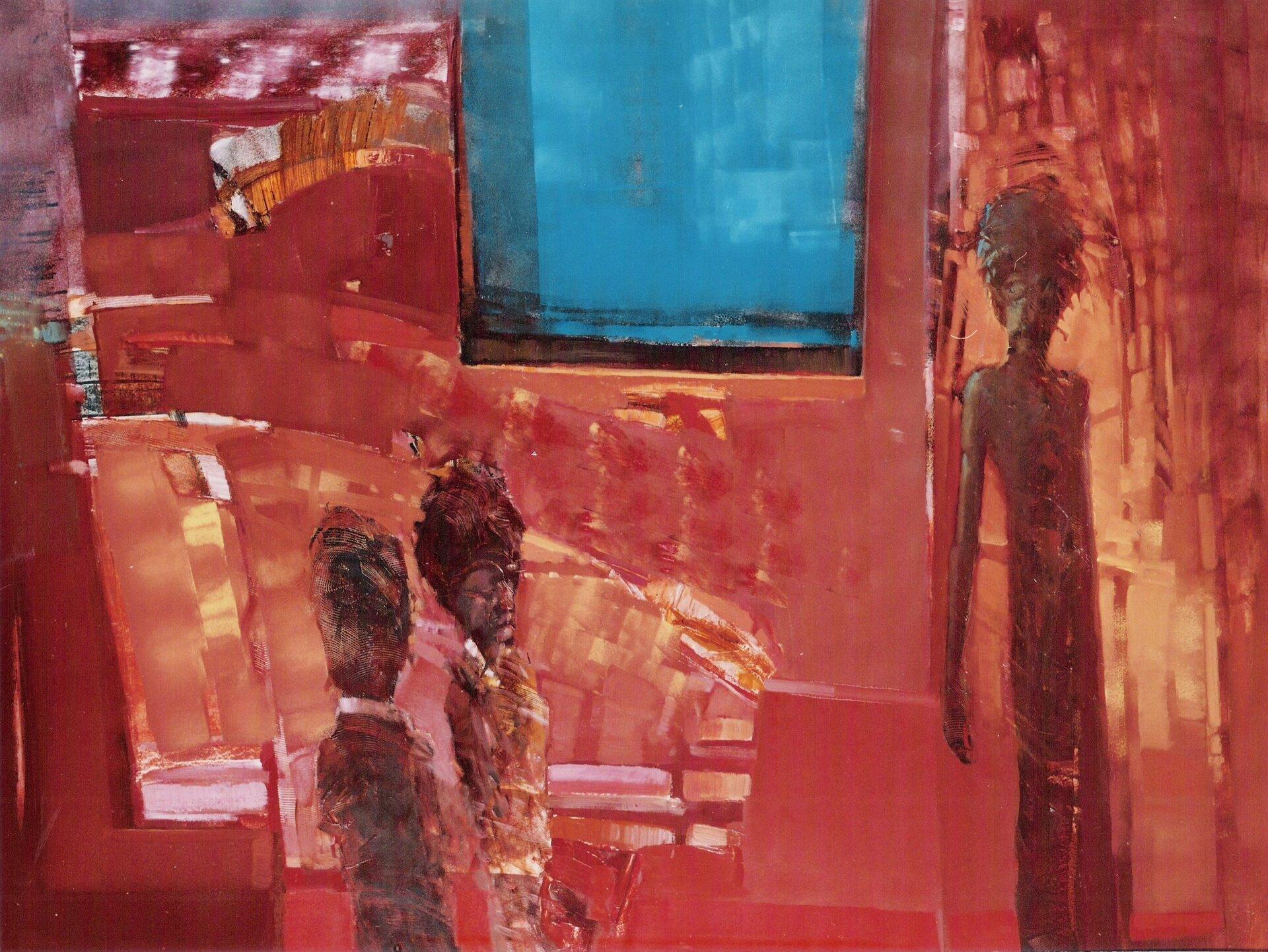 """Ilustracja przedstawia obraz olejny """"We wnętrzu"""" autorstwa Piotra Klugowskiego. Praca ukazuje malowane szeroką plamą, uproszczone trzy postacie prawdopodobnie kobiet owysokich fryzurach namalowane wbrązowo-czerwono-żółtej tonacji. Jedna wydłużona sylwetka znajduje się po prawej stronie kompozycji, pozostałe dwie, jakby ucięte postacie. umieszczone są wdolnej lewej części obrazu. Tło stanowi abstrakcyjna kompozycja składająca się zczerwono-żółtych plam oraz niebieskiego prostokąta okna ugóry. Obraz cechuje się dużym uproszczeniem form. Dla artysty nie jest ważny detal. Przy pomocy prostych środków wyrazu stara się oddać nastrój przedstawionej sceny. Praca wykonana została wciepłej, czerwono-żółtej gamie barw zchłodnym, niebieskim akcentem prostokątnego okna."""