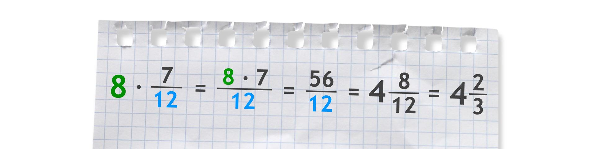 Przykład: 8 razy siedem dwunastych równa się pięćdziesiąt sześć dwunastych równa się cztery całe iosiem dwunastych równa się cztery całe idwie trzecie.