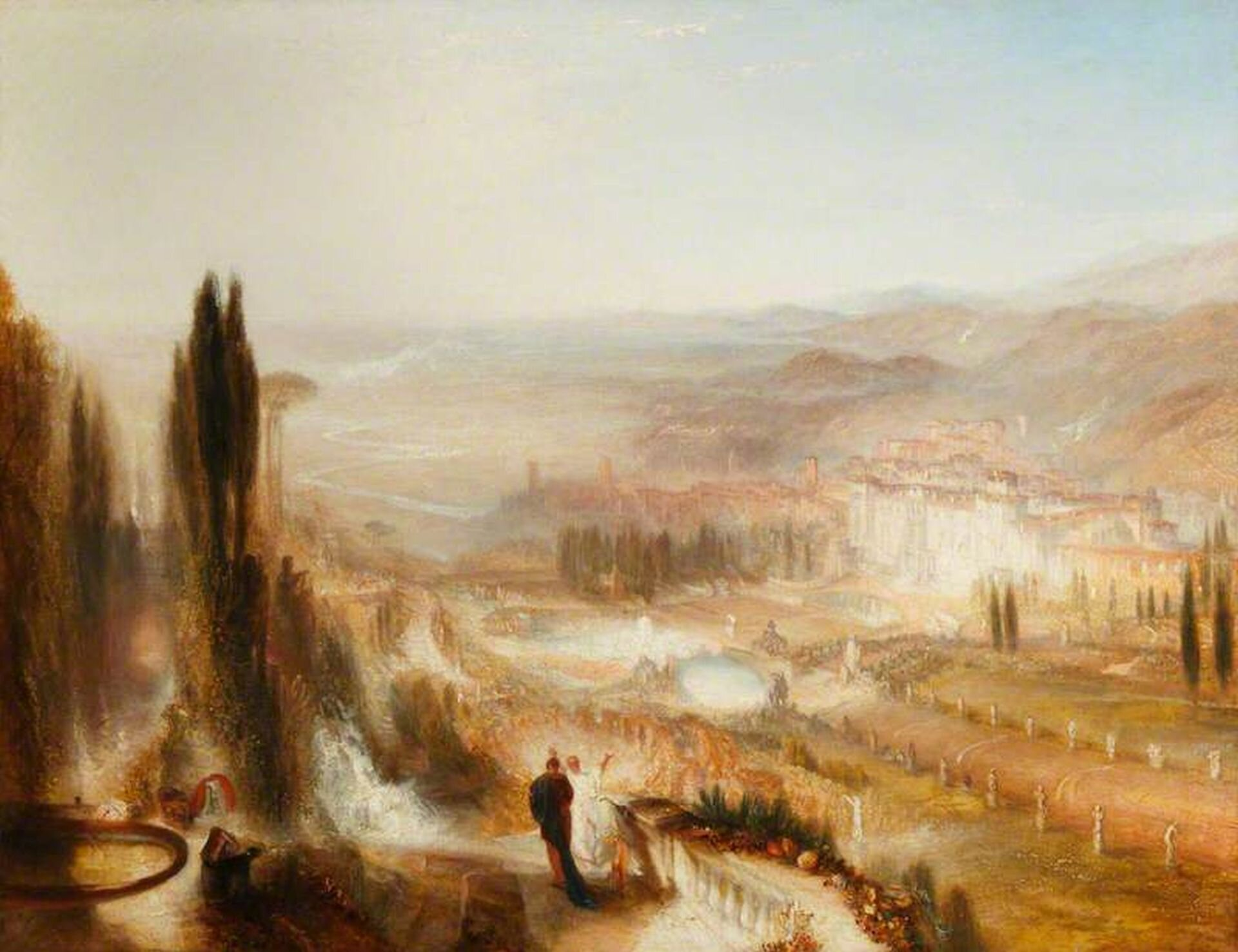 """Ilustracja przedstawia obraz """"Cicero wswojej willi wTusculum"""" autorstwa Josepha Mallorda Williama Turnera. Obraz pokazuje widok na dolinę, wktórej znajduje się miasto. Przed nim znajduje się brukowana droga. Udołu obrazu widać dwie osoby, które przechadzają się po posiadłości."""