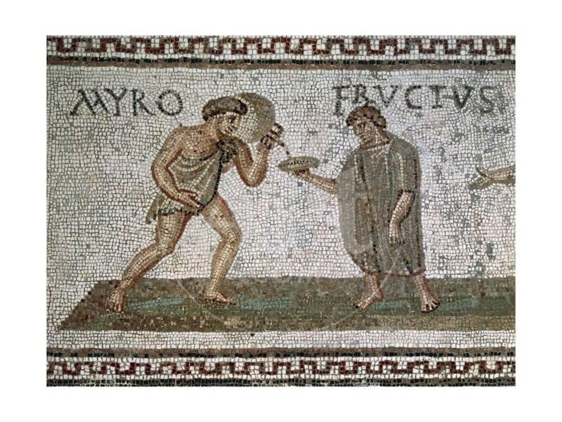 Mozaika nieznanego autora przedstawia Fructusa oraz jego niewolnika. Fructus trzyma wręku naczynie, do którego jego niewolnik nalewa zdzbana wino. Niewolnik przepasany jest krótkim materiałem zakrywającym jedynie niewielką część jego ciała. Nad postaciami znajduje się napis: MYRO FRUCTUS.