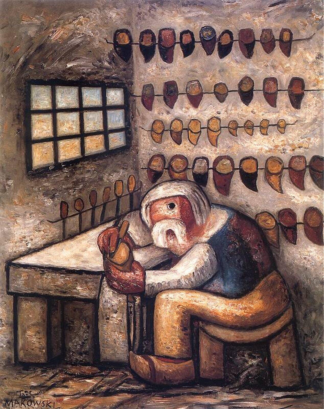 """Ilustracja przedstawia obraz pt. """"Szewc"""" autorstwa Tadeusza Makowskiego. Na pierwszym planie obrazu znajduje się rzemieślnik-szewc przy pracy. Jego postać jest pochylona, zgarbiona, co sugeruje jego wysiłek, zmęczenie, może nawet znużenie wykonywaną pracą. Na drugim planie widoczne są sznury, na których wiszą drewniane modele do profilowania butów, tak zwane saboty. Nasuwają skojarzenie znastroszonymi ptakami siedzącymi na drutach. Miejsce pracy szewca przypomina celę – bielone, puste ściany izakratowane małe okienko potęgują uczucie odosobnienia rzemieślnika od reszty świata."""