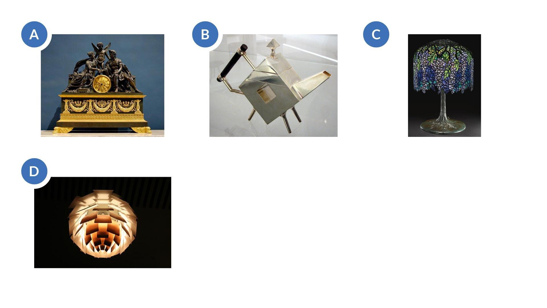 Wzadaniu znajdują się cztery ilustracje, przedstawiające ozdobny brązowo-złoty zegar ztrzema postaciami: kobietą, męzczyzną oraz aniołem, lampe zabażurem przedstawiającym kiść winogron, czajnik ogeometrycznych wzorach, oraz lampę poskładaną zwielu kwadratowych elementów, prezentujących wcałości kulę.