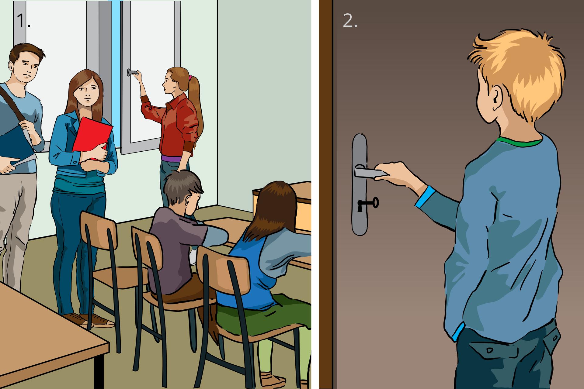 Pierwsze dwie zsiedmiu ilustracji stanowiących zestaw instrukcji postępowania wczasie ewakuacji budynku. Rysunek numer jeden znajdujący się od lewej stronie przedstawia wnętrze szkolnej klasy zpiątką uczniów wwieku około 15 lat. Po usłyszeniu komunikatu oewakuacji uczniowie przerywają zajęcia izbierają się do wyjścia. Stojąca przy oknie dziewczyna zamyka je. Na rysunku numer dwa po prawej stronie pokazano, jak ostatni zwychodzących uczniów zamyka drzwi klasy na klamkę, ale nie na klucz.