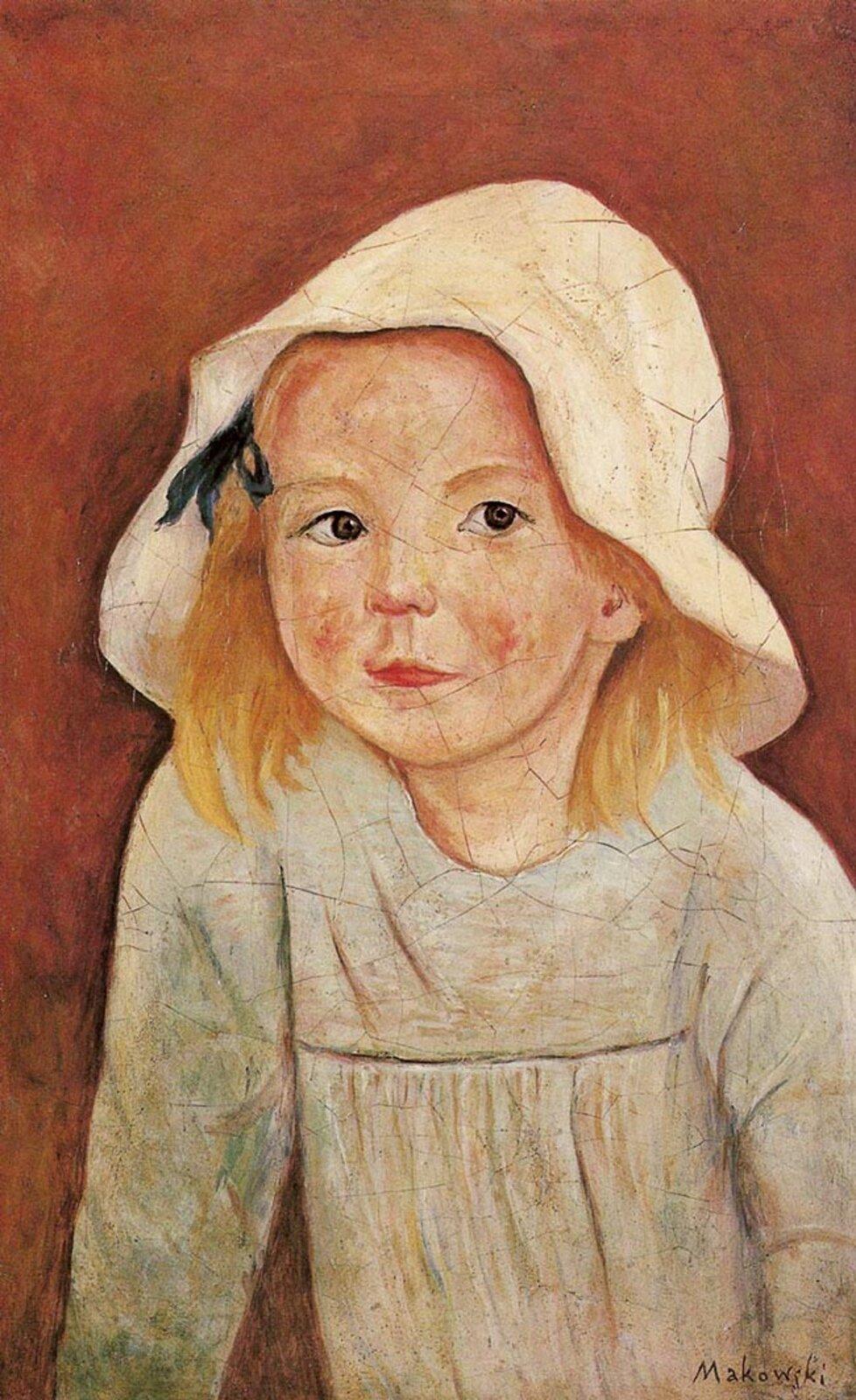 """Ilustracja przedstawia obraz pt. """"Dziewczynka wbiałym kapeluszu"""" autorstwa Tadeusza Makowskiego. Jest to klasyczny portret en face iprzedstawia postać dziewczynki portretowanej na brązowym tle. Dziewczynka ubrana jest wbiałą sukienkę oraz biały kapelusz zczarną wstążką. Makowski przy tworzeniu tego obrazu, nakładał farbę za pomocą delikatnych ruchów. Kolory są położone równomiernie, zwidocznymi wlewym rogu cieniami."""