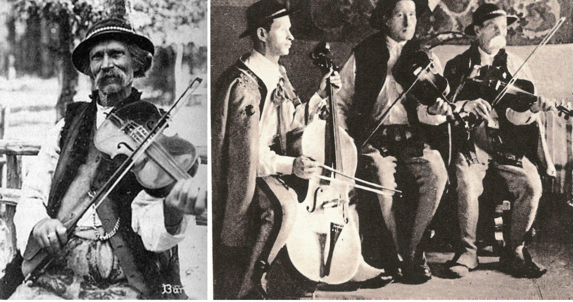 Ilustracja składa się zdwóch zdjęć. Pierwsze przedstawia Bartusia Obrochtę, sławnego skrzypka góralskiego, drugie kapelę góralską Obrochtów - wskładzie dwóch skrzypków ibasista. Wszyscy mężczyźni ubrani są wtradycyjne stroje podhalańskie: białe koszule, kamizelki lub kurtki, białe spodnie, na głowach mają kapelusze ozdobione sznurkiem muszelek, na nogach kierpce.
