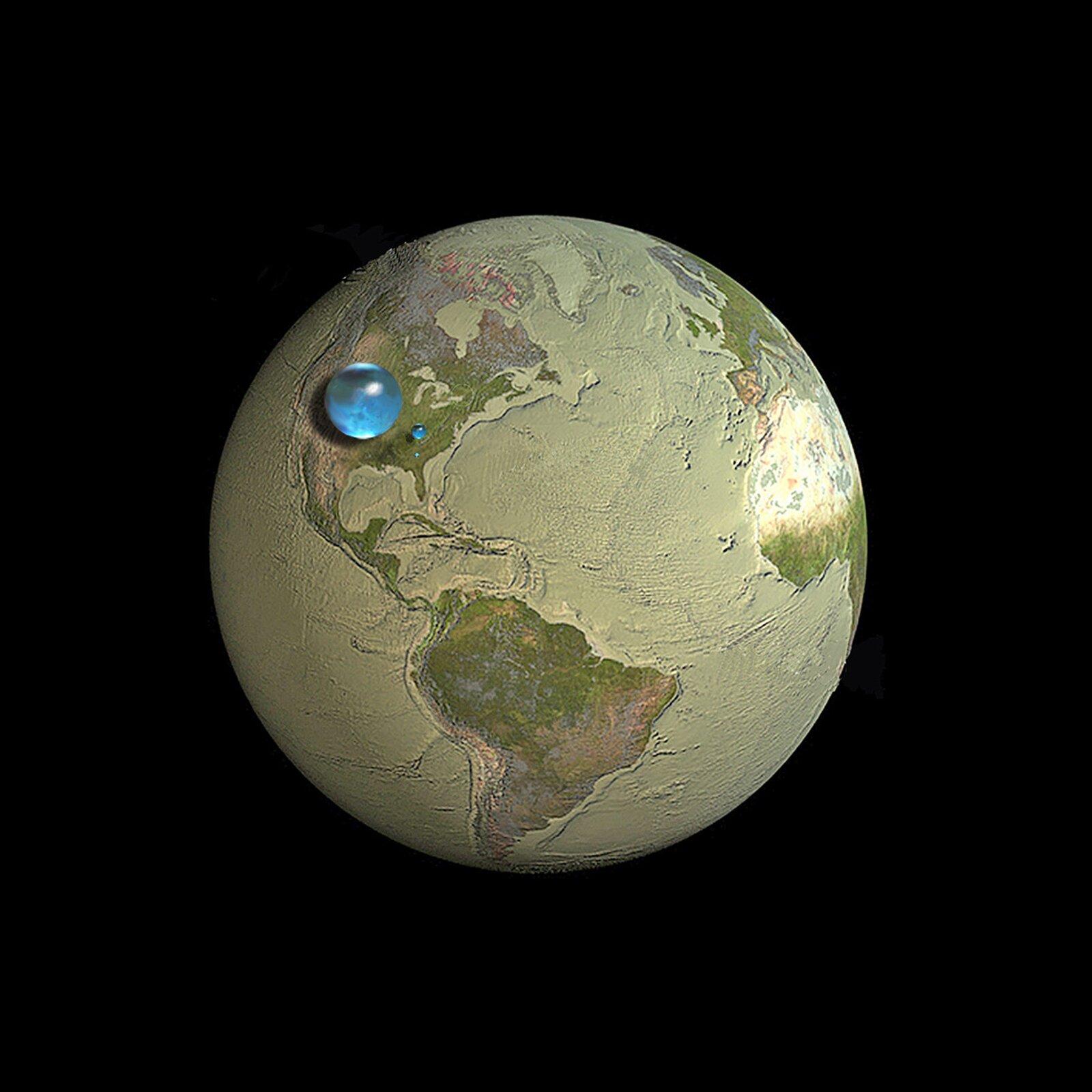 Ilustracja przedstawia grafikę komputerową ukazującą ziemskie zapasy wody. Pokazuje ona glob ziemski od strony Oceanu Atlantyckiego, zktórego zebrana została cała warstwa wody. Na tle obszaru Stanów Zjednoczonych umieszczone zostały trzy niebieskie kule. Pierwsza zlewej inajwiększa symbolizuje całe zasoby wody na Ziemi zebrane wjednym miejscu zzachowaniem skali. Druga, znacznie mniejsza kulka orozmiarach małego stanu odzwierciedla zasoby wody słodkiej, natomiast kulka najmniejsza, zajmująca powierzchnię dużego miasta to woda słodka zawarta wwodach powierzchniowych.