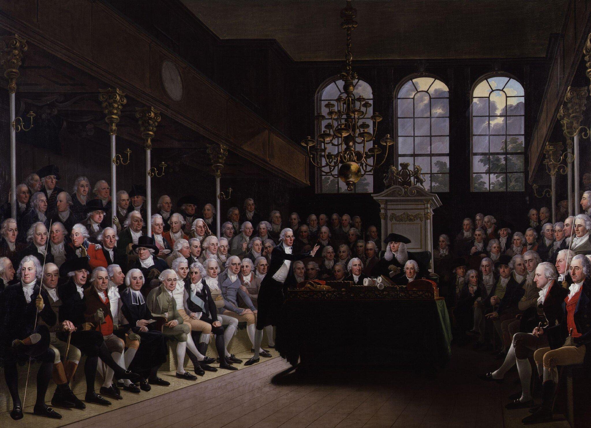 Izba Gmin 1793-94 Źródło: Karl Anton Hickel, Izba Gmin 1793-94, National Portrait Gallery, domena publiczna.
