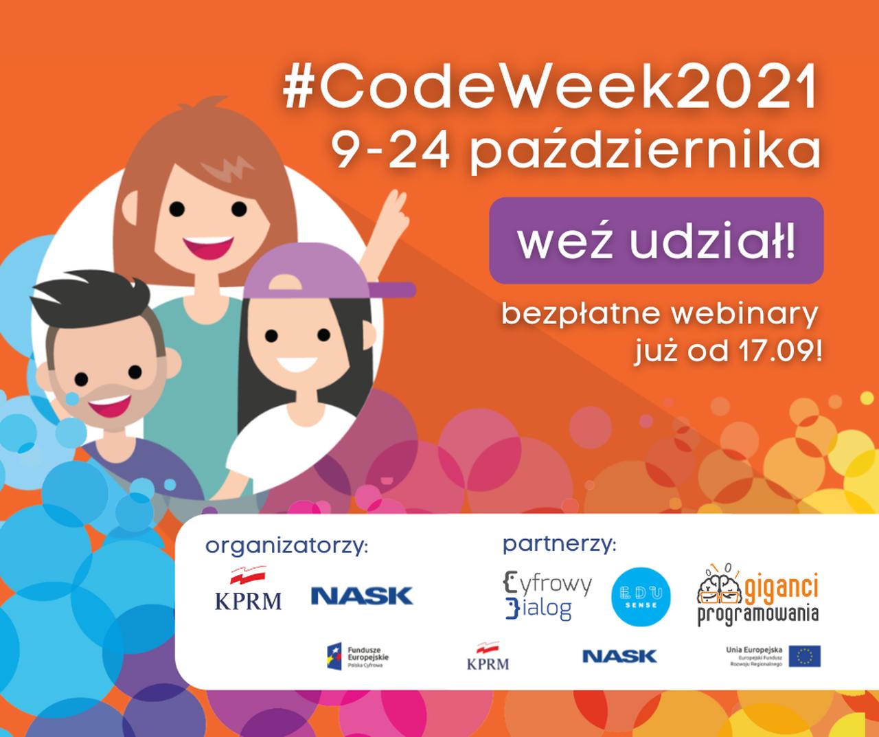 Ilustracja przedstawiająca okładkę aktualności Dołącz do #CodeWeek2021 wdniach 9-24 października