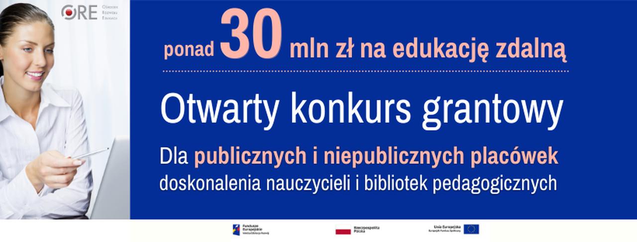 Ilustracja przedstawiająca okładkę aktualności Otwarty konkurs grantowy dla publicznych iniepublicznych placówek doskonalenia nauczycieli ibibliotek pedagogicznych