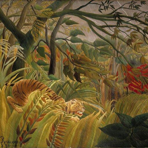 """Korespondencja sztuk. Henri <span lang=""""fr"""">Rousseau</span>: <cite><em>Zaskoczony!</em></cite> lub <cite><em>Tygrys podczas burzy tropikalnej</em></cite> iJulia Hartwig <cite><em>Tygrys wdomu</em></cite>"""