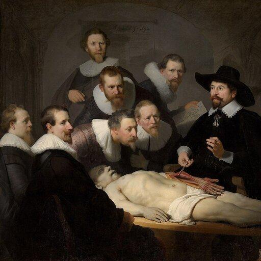 Rembrandt, <cite><em>Lekcja anatomii doktora Tulpa</em></cite> i Stanisław Grochowiak, <cite><em>Lekcja anatomii (Rembrandta)</em></cite>